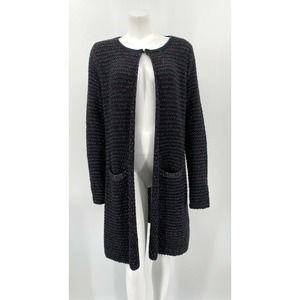 Belldini Cardigan Sweater Duster Navy Shimmer Wool
